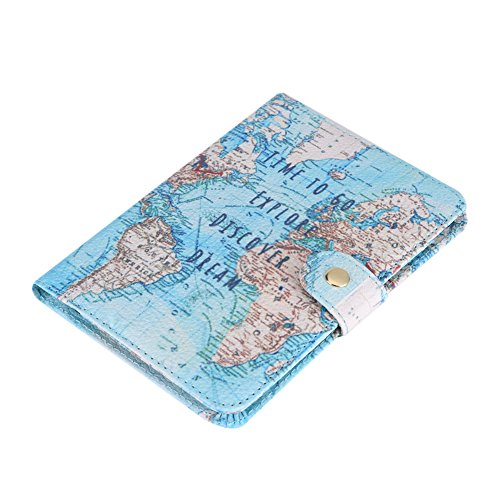 Fdit Passport Holder Wallet Protective Premium PU Leather Travel Wallet Passport Cover Case Blocking Case for Travel Passports Identity Theft Protection(#Map)