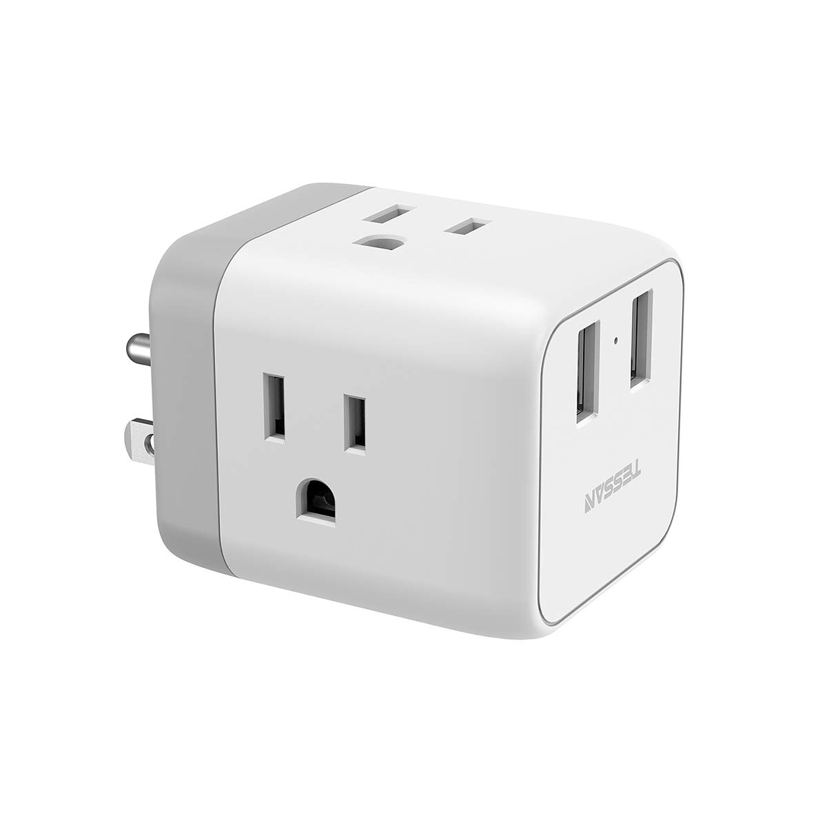 Multi Plug 3 Outlet Extender with 2 USB Wall Charger, Cruise Ship Travel Power Strip Extension, Cube Wall Plug Outlet Splitter Adapter, Compatible with iPhone, iPad, and More