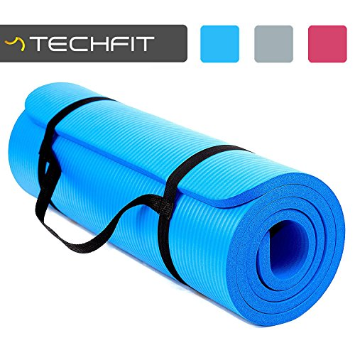 TechFit Yoga Mat Extra Thick 15mm Carry Straps, 180x60 cm, Non Slip,...