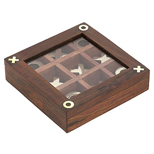 - ShalinIndia Handmade Brass and Wood Tic Tac Toe Game for Kids - Noughts and Crosses Game