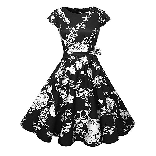Birdfly Spring Summer Nine Type Women Black & White Vintage Hepburn Style Flower & Leaves PrintBeam Waist Ball Gown Dress Plus 2L (L, Black(Type (Spring Ball Dresses)