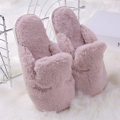 EUBUY Winter Warm Comfort Anti-slip Cotton Slip on Men Women Lining Plush Indoor Shoe Couples House Slipper Purple L by EUBUY