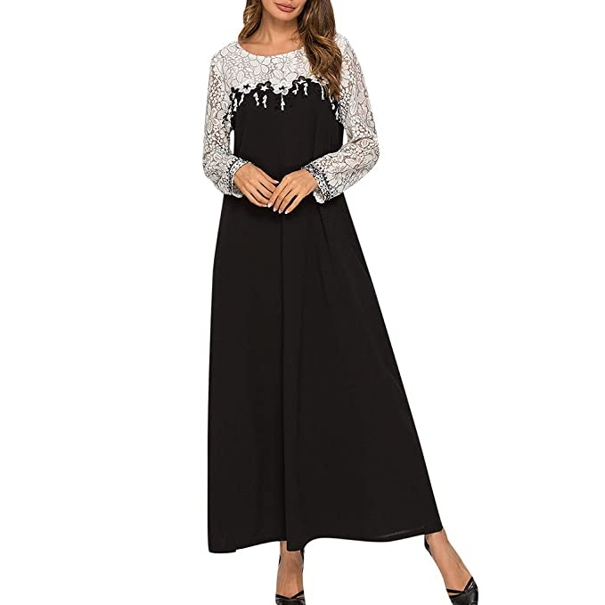 c81b6c764af Womens Vintage Dress Hollow Out Long Sleeve O-Neck Ankle-Length Maxi Dress   Amazon.ca  Clothing   Accessories