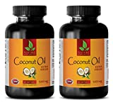 Fat burner energy pills - EXTRA VIRGIN COCONUT OIL 3000mg - Coconut oil pills for memory - 2 Bottles 120 Softgels