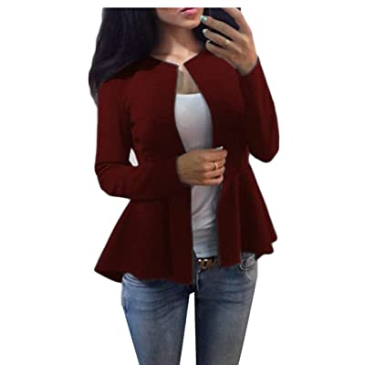 ainr Women's Casual Warm Long-sleeves Solid Color Blazer