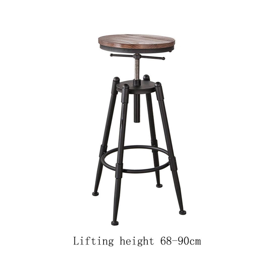 レトロキッチンスツール(金属製脚付き)ハイスツールバースツールPUレザーシート&ウッドチェア朝食バー、360度回転可能キッチンバーの高さ68-90cm/98-120cm, 3 B075RVZZ6Z 3  3