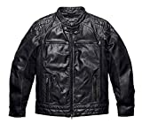 Harley-Davidson Mens Black Label Perforated Panel Leather Jacket 98113-16VM (L)