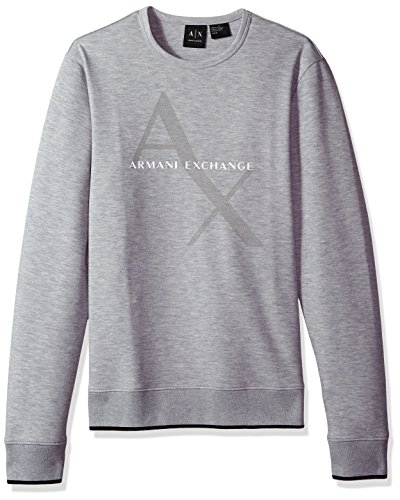 A|X Armani Exchange Men's Soft Stretch Logo Sweatshirt, Heather Grey, - Men Exchange Sweater Armani