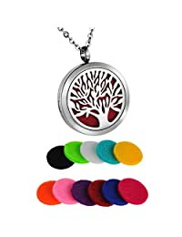 HooAMI Aromatherapy Essential Oil Diffuser Necklace - Stainless Steel Round Tree of Life Locket Pendant