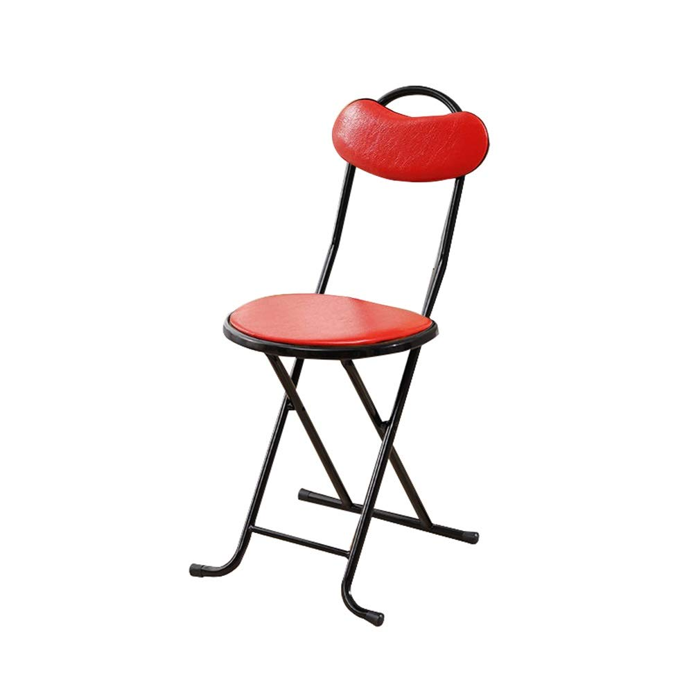 Red 28X33X76CM AGLZWY Folding Chairs Multipurpose Metal PU Waterproof Portable Space Saving Simple Living Room Adult Meal Fishing, Black, Red, Brown (color   Red, Size   28X33X76CM)