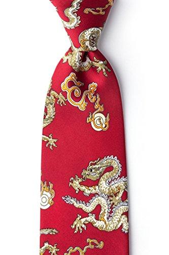 Red Silk Tie | Chinese Dragon Necktie ()