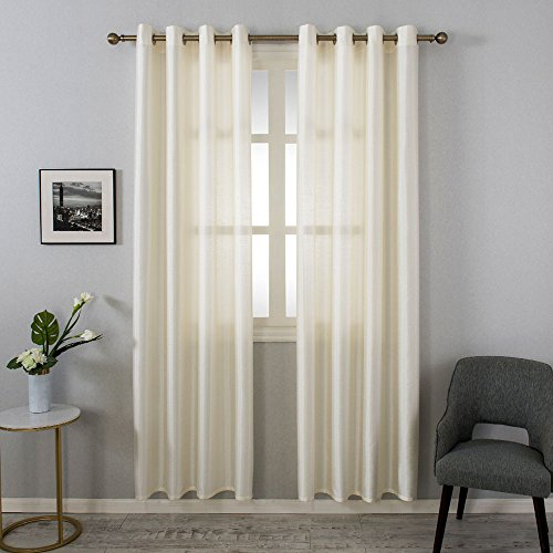 Grace Duet Sheer Curtains Airy Gauzy Window Treatments Panels Cream Window Curtains for Bedroom Curtain Sheer Ivory 2 Panels (54x 84, Ivory)