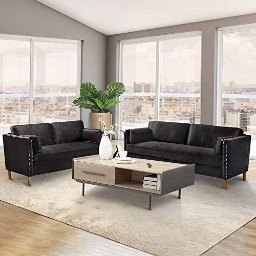 DKLGG 2 Pieces Living Room Sofa Couch Loveseat Set Sectional Sofa Morden Style Furniture Sofas Upholstered Armrest for Home Black