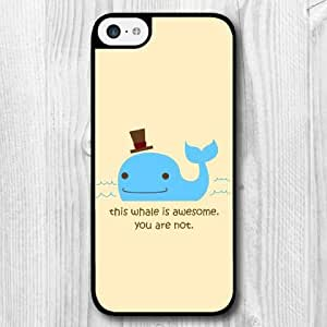 For iPhone 5C Case,Fashion Design Blue Whale Pattern Protective Hard Phone Cover Skin Case For iPhone 5C +Screen Protector