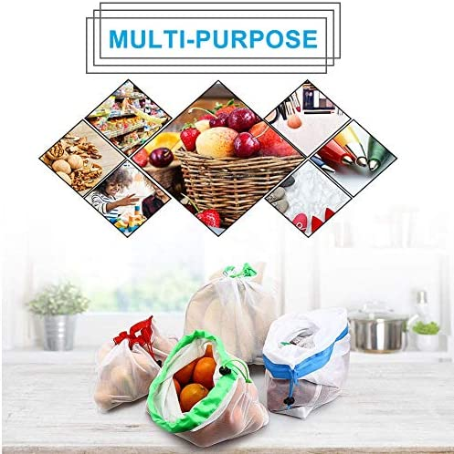 9Pcs Reusable Mesh Produce Bags, Berosy Washable Premium See-Through Lightweight Mesh Bags, for Fruit, Vegetable, Toys, Grocery, and Supermarket Shopping Storage, (2 Small, 5 Medium & 2 Large)