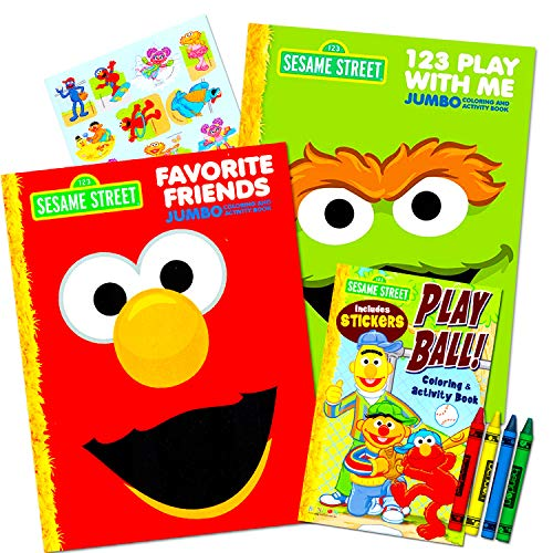 Sesame Street Coloring Book Super Set ~ 3 Elmo Coloring Books, Over 350 Coloring Pages Total with Stickers and Crayons (Elmo Coloring Book)