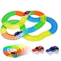 infinitoo 220 Pcs Neon Parts Magic Glow Tracks Racer Set   2 Light-up Race Flexible Cars with 3 LED Lights Bendable…