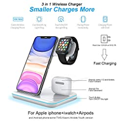 POWERGIANT 3 in 1 Wireless Charger, 15W Qi Fast Wireless Charger Station Compatible with Airpods Pro 2 1 iWatch 5 4 3 2… Wireless Chargers [tag]
