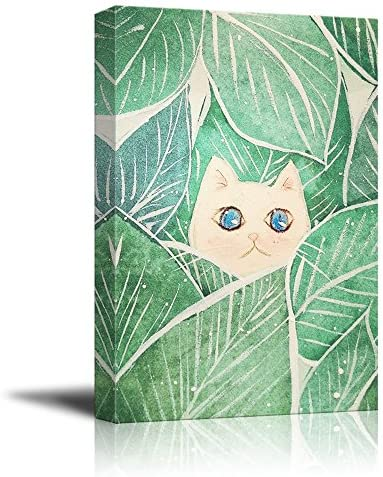 Watercolor Style White Cat Among Big Green Leaves