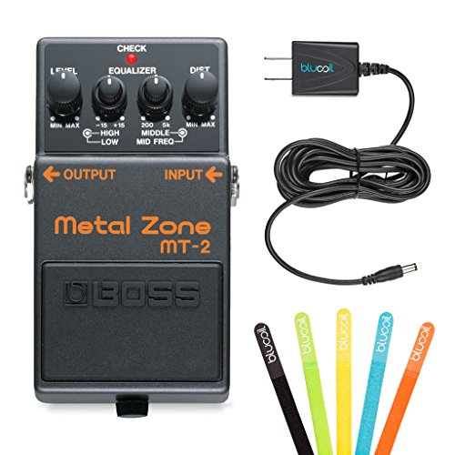 Boss MT-2 Metal Zone Distortion Guitar Pedal -INCLUDES- Blucoil Power Supply Slim AC/DC Adapter for 9 Volt DC 670mA AND 5 Pack of Cable Ties by blucoil