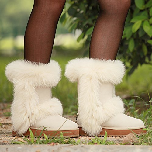AUSLAND Womens Midcalf Wool-Lined Suede Leather Boot Platform Shoe White ANRQD2