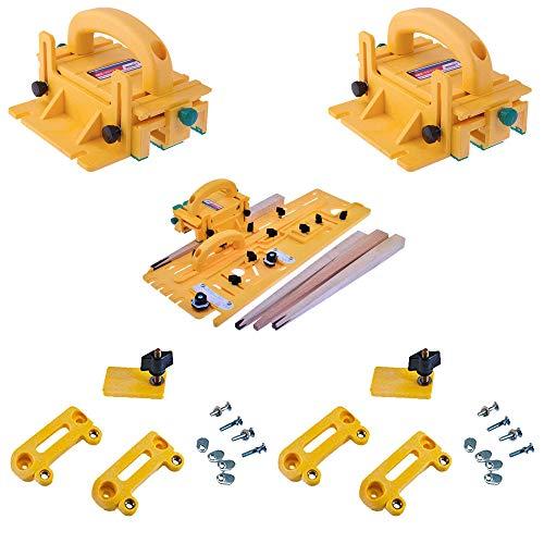 (Microjig Grr-Ripper 3D Pushblock (2-Pack) w/TJ-5000 Microdial Tapering Jig & (2) Handle Bridge Kit)