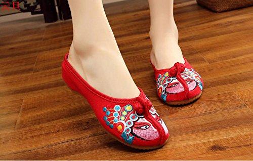 KAFEI Frauen bestickten Tuch Schuhe Hausschuhe mit cheongsam Kostüm Vieh Sehne zu Hause, 34, J