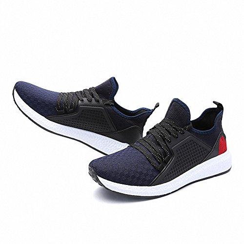 Ben Sports Calzado de correr hombre Tejida Zapatillas de Zapatos de cordones Calzado deportivo Azul