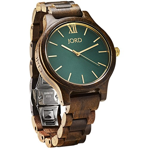 JORD Wooden Wrist Watches for Men or Women - Frankie Minimalist Series / Wood Watch Band / Wood Bezel / Analog Quartz Movement - Includes Wood Watch Box (Dark Sandalwood & Emerald) by Jord