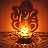 Hashcart Decorative Shadow Ganesh Tea Light Holder For Diwali / Décor / Gift