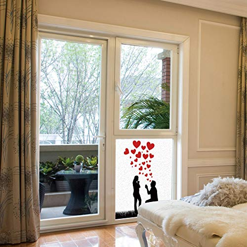 (YOLIYANA Privacy Window Film Decorative,Engagement Party Decorations,for Glass Non-Adhesive,Wedding Proposal of Romantic Couple with Hearts Image,17''x24'')
