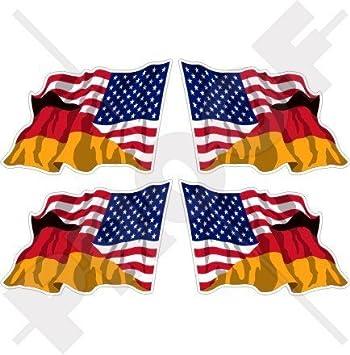 Usa Vereinigte Staaten Von Amerika Und Deutschland Amerikanisch Und Deutsche Wehende Flagge Fahne 50mm Auto Motorrad Aufkleber X4 Vinyl Stickers Links Rechts Garten