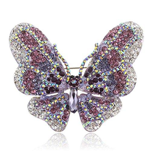 Butterfly Pin Stones - EVER FAITH Women's Austrian Crystal Butterfly Brooch Purple Silver-Tone