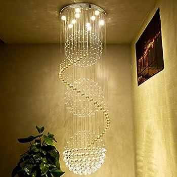 Saint Mossi Modern K9 Crystal Spral Raindrop Chandelier