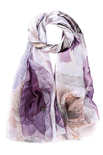 Women Scarf Shawl Wrap Lightweight Fashion Print Ladies Floral Scarves Purple