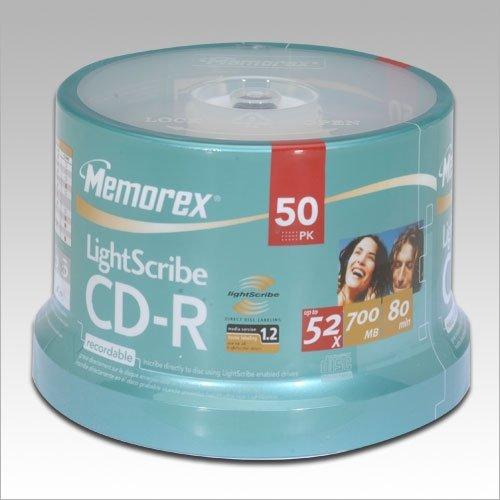 700MB//80 Minutes Pack of 50 Memorex LightScribe CD-R Media Spindle