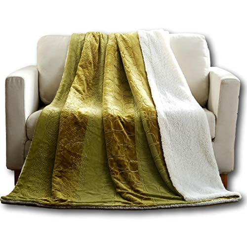 Tache Green Sherpa Throw Blanket - Earth Day - Embossed Plush Cozy Comfy Cuddly Fluffy Light Olive Lime Green Luxury Durable Super Soft Warm Decorative Flannel for Couch and Sofa - 50X60 Inch ()