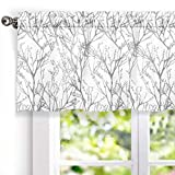 DriftAway Tree Branch Abstract Ink Printing Lined Thermal Insulated Window Curtain Valance Rod Pocket 52 Inch by 18 Inch Plus 2 Inch Header Gray Sliver 1 Pack