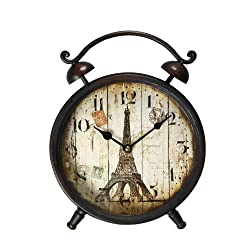 Adeco CK0035 CK0035 Back-to-School Sale! Adeco Vintage-Inspired Distressed Brown Iron Alarm Clock Style Wall Hanging or Table Clock, Eiffel Tower Home Decor, wooden look dial, Brown