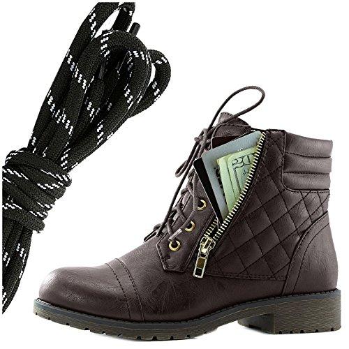 Dailyshoes Donna Militare Allacciatura Fibbia Stivali Da Combattimento Caviglia Alta Esclusiva Tasca Per Carte Di Credito, Nero Bianco Marrone Pu