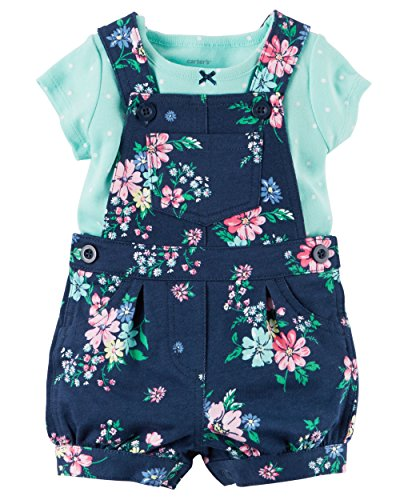 Carter's Baby Girls 2-Piece Top & Shortalls Set (Flowers) (9 (Carters Shortall)