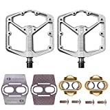 Crankbrothers Stamp 2 Bike Pedals (Black, Large) with Premium Cleats and Bike Shoe Shields Set