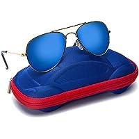Comcl gafas de aviador para el sol con lentes reflectivos y marco de metal para niños