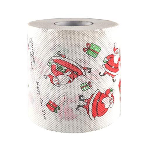 NUOBESTY 3 Rollos Navidad patron Rollo Papel impresion Papel higienico Mesa Cocina Santa Claus Rollo Papel