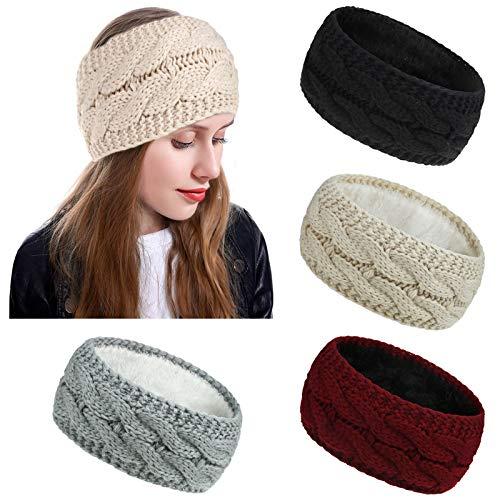 4 Packs Women Winter Knitted Headbands Ear Warmer Headbands with Soft Fleece Lined Thicken Crochet Braided Hairband Knit…