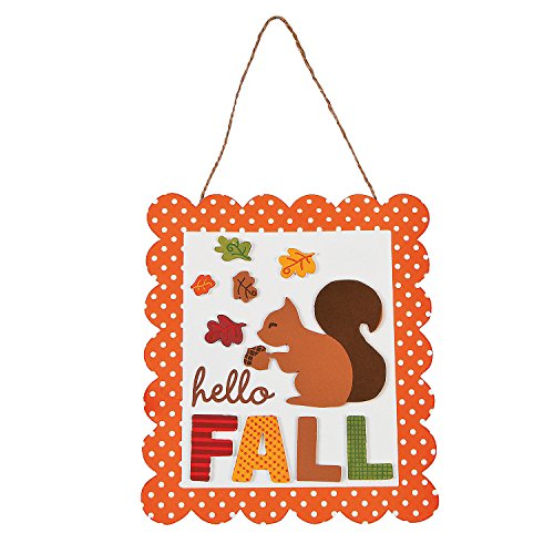 Fun Express - Hello Fall Sign CK-12 for Fall - Craft Kits - Hanging Decor Craft Kits - Sign Decoration Craft Kits - Fall - 12 Pieces