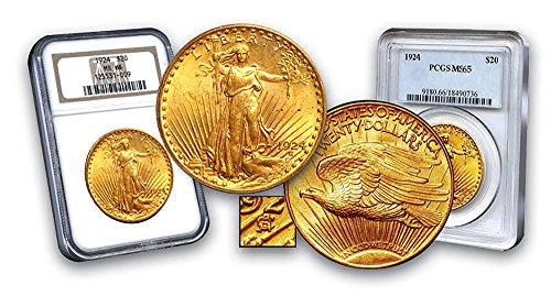 1924 P  20 Gold St Gaudens Double Eagle  20 Ms 65 Pcgs Or Ngc