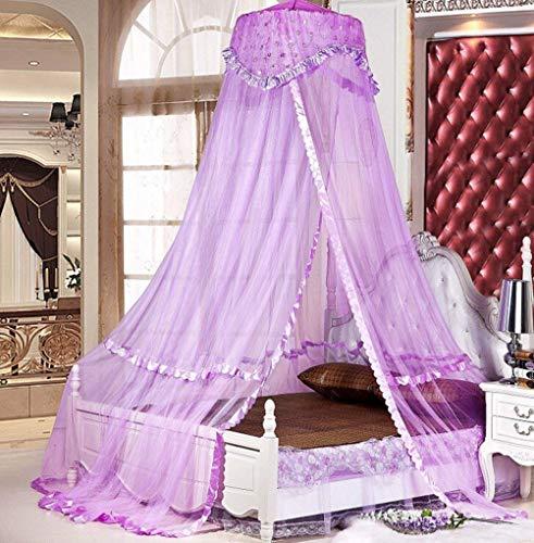 Sinotop Luxury Princess Bed Net Canopy Round Hoop Netting Mosquito Net Bedroom Decor (purple) by Woopoo