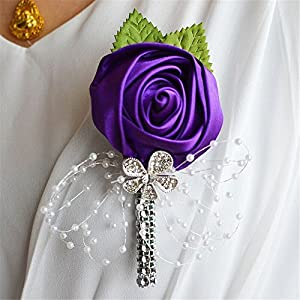 S_SSOY Boutonniere Bridegroom Groom Artificial Flower Corsage Men's Boutonniere Groomsmen Best Man Boutineer with Pin for Wedding Homecoming Prom Suit Decor Dark Purple Pack of 4 100