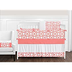 Sweet Jojo Designs Modern White and Coral Diamond Geometric 9 piece Crib Bed Bedding Set for a Newborn Baby Girl
